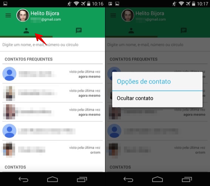 Ocultando um contato no Hangouts para iOS (Foto: Reprodução/Helito Bijora)