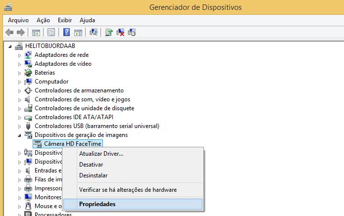 Abra as propriedades da webcam (Foto: Reprodução/Helito Bijora)