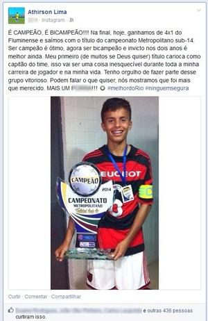 Acreano Athirson Lima, lateral-esquerdo do Flamengo, comemora título sub-14 (Foto: Reprodução/Facebook)