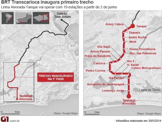 Linha Alvorada-Tanque vai operar com 19 estações a partir de 2 de junho. (Foto: Arte/G1)