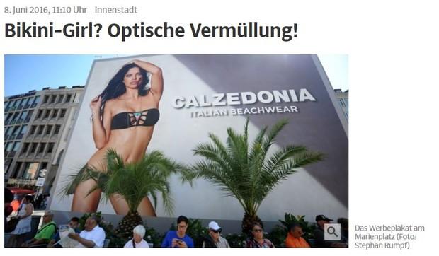 Outdoor com a top Adriana Lima causa polêmica na Alemanha (Foto: Reprodução / Süddeutsche Zeitung)