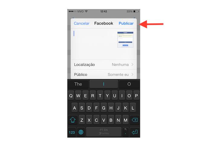 Compartilhando um grupo gerenciado pelo Facebook Group no Facebook em um dispositivo iOS (Foto: Reprodução/Marvin Costa)