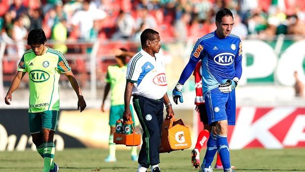 Fernando Prass jogo Palmeiras machucado Ituano (Foto: Piervi Fonseca / AE)
