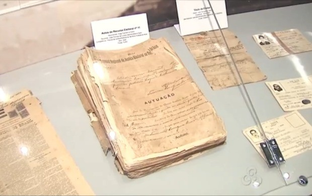 Ambiente exibe documentos, títulos de eleitores, jornais antigos (Foto: Bom Dia Amazônia)
