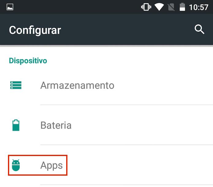 Acessando a opção Apps nas configurações do Android (Foto: Reprodução/Edivaldo Brito)