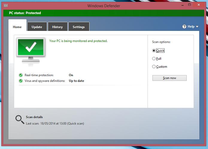 Tela inicial do Windows Defender (Foto: Aline Jesus/Reprodução)