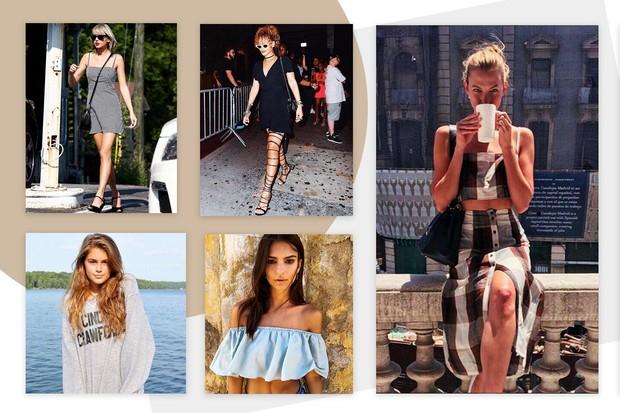 Taylor Swift, Rihanna, Kaia Gerber, Emily Ratajkowski e Karlie Kloss vestem Reformation (Foto: Reprodução)