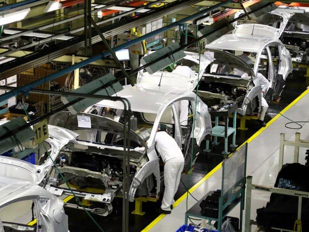 Linha de produção da Honda, em Sumaré, SP  (Foto: Caio Mattos/Divulgação Honda)