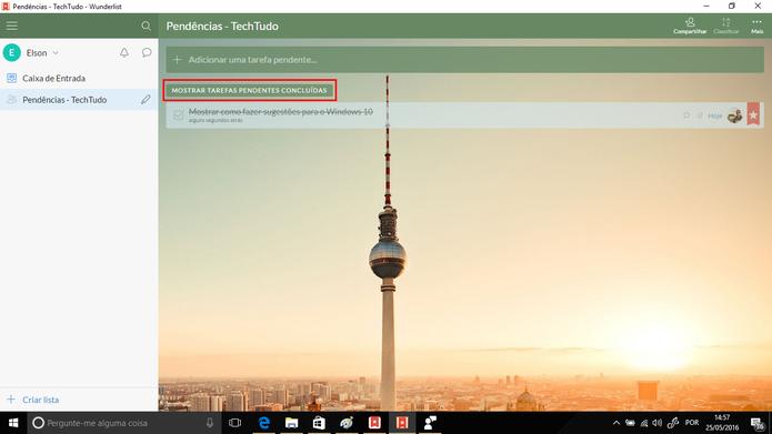 Usuário pode mostrar tarefas concluídas ocultadas no Wunderlist (Foto: Reprodução/Elson de Souza)