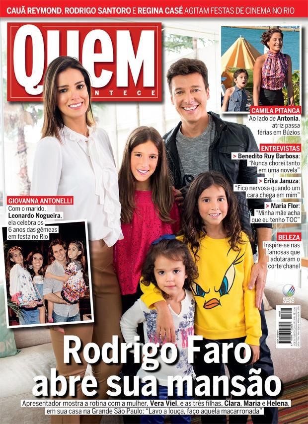 Rodrigo Faro e família na capa da QUEM (Foto: Guilherme Zauith/Ed Globo)