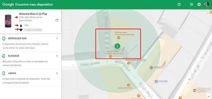 O Google informa onde o aparelho foi visto pela última vez (Foto: Reprodução/Taysa Coelho)