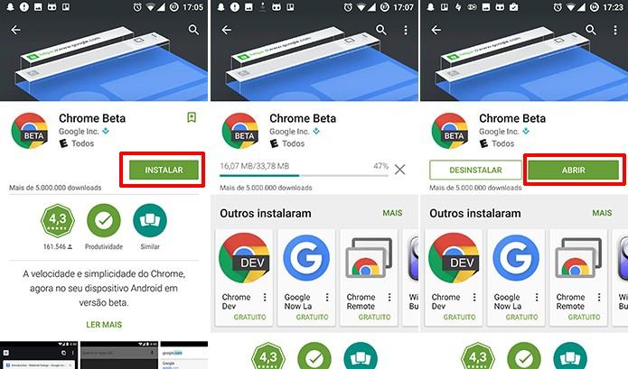 Chrome Beta será baixado na Play Store e usuário poderá conferir as novidades ao fim (Foto: Reprodução/Elson de Souza)