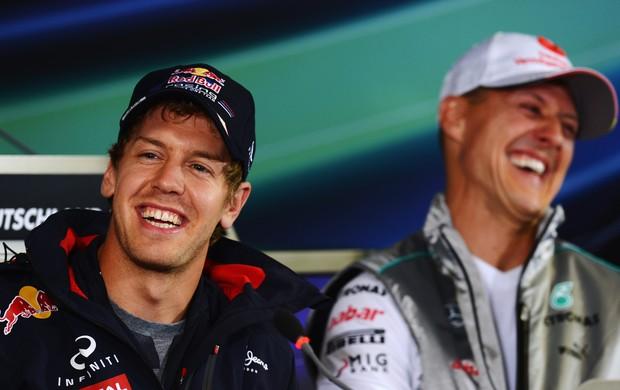 Sebastian Vettel e Michael Schumacher na coletiva do GP da Alemanha (Foto: Getty Images)