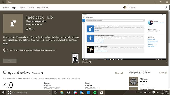 Windows 10 tem aplicativo Feedback Hub para reclamações, mas instalação pode falhar (Foto: Reprodução/Elson de Souza)