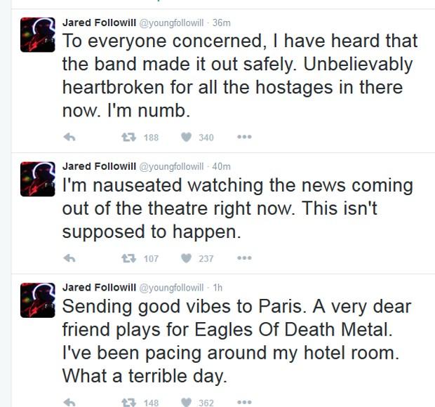 Baixista do Kings Of Leon lamenta atentados em Paris e diz que amigos da banda Eagles of Death Metal conseguiram sair da casa. A informação ainda não foi confirmada oficialmente (Foto: Reprodução / Twitter)