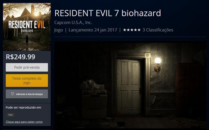 Página de Resident Evil 7 na PlayStation Store (Foto: Reprodução/André Mello)