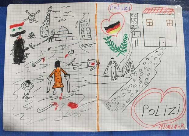 Desenho feito por criança síria foi compartilhado pela polícia federal alemã  (Foto: Reprodução/Twitter/Bundespolizei BY)