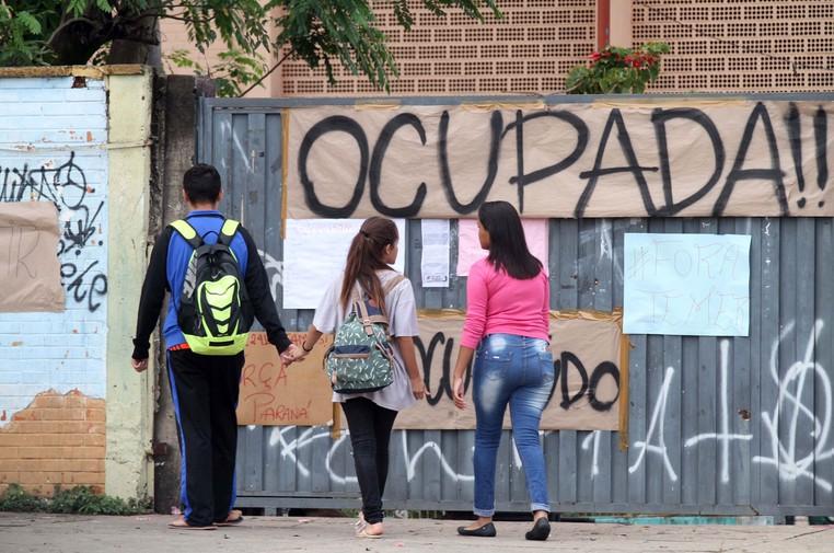 Terceiro dia deocupaçãodo prédio da Escola Estadual Ruy Rodriguez, no bairro Itajaí, em Campinas (SP) (Foto: Denny Cesare/ Estadão Conteúdo)