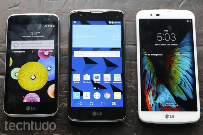 LG K4, LG K8 e LG K10 (Foto: Fabrício Vitorino/TechTudo)