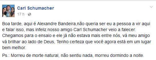 Post no Facebook de Carl Schumacher (Foto: Reprodução/Facebook)