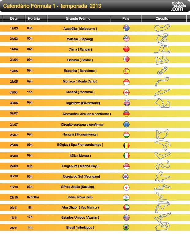 calendário 2013 formula 1 horarios (Foto: Editoria de Arte / Globoesporte.com)