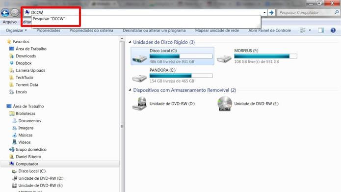 """Digite em """"DCCW"""" na barra de endereços do Windows Explorer (Foto: Reprodução/Daniel Ribeiro)"""