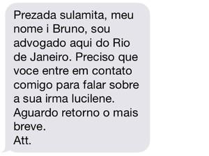 Mensagem que amigo do namorado de Lucilene enviou para família (Foto: Reprodução)