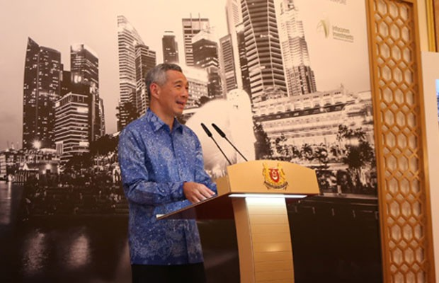 Primeiro-ministro de Cingapura, Lee Hsien Loong, durante conferência. (Foto: Divulgação/Governo de Cingapura)