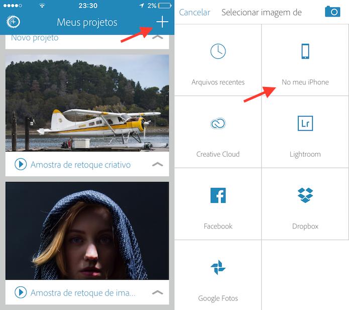 Opção para importar fotos do celular para o Photoshop Fix (Foto: Reprodução/Marvin Costa)