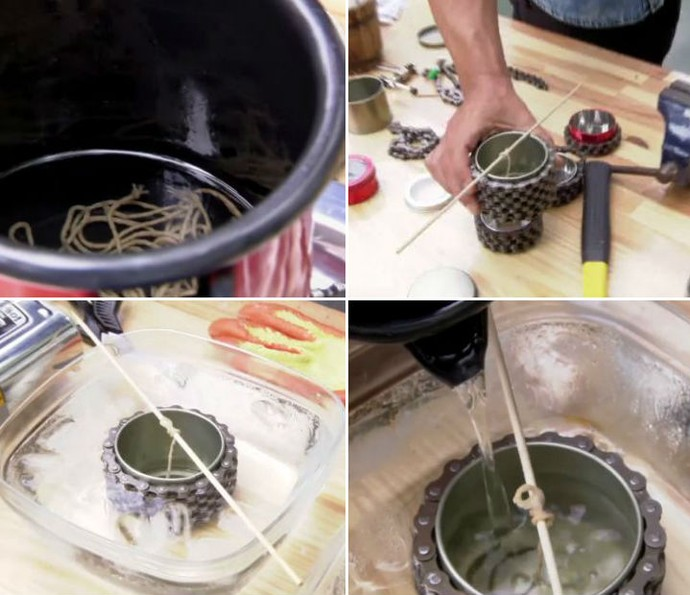 Confira o passo a passo para fazer uma vela decorativa com corrente de bicicleta (Foto: TV Globo)