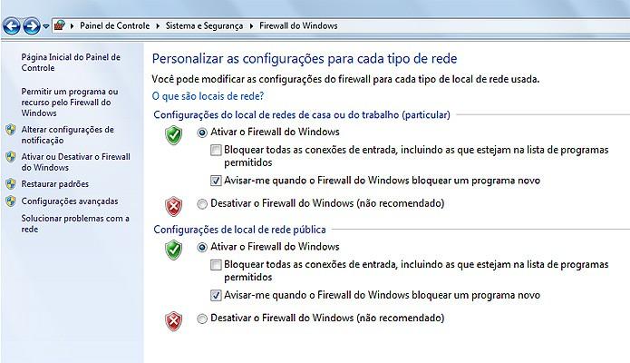 O Firewall do Windows acompanha a instalação do sistema operacional (Foto: Reprodução/Karla Soares)
