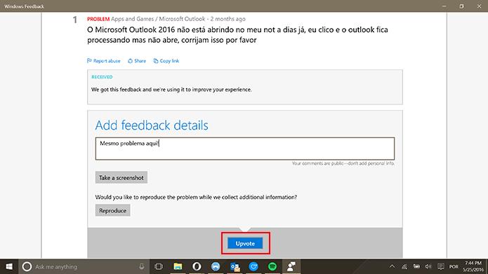 Windows Feedback permite que usuário interaja com reclamações de outras pessoas (Foto: Reprodução/Elson de Souza)