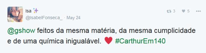 Isabel Fonseca adora o casal #Carthur (Foto: Reprodução)