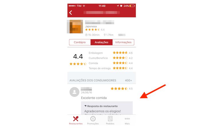 Conferindo as avaliações de clientes para um restaurante no iFood para iPhone (Foto: Reprodução/Marvin Costa)