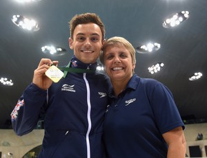 Tom Daley e técnica Jane Figueiredo FINA/NVC Diving World Series londres (Foto: Getty Images)