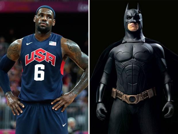 Montagem Lebron James e Batman (Foto: Montagem sobre foto da AP)