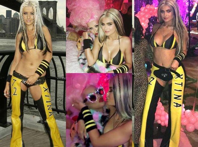 Kylie Jenner se fantasia de Christina Aguillera novamente para festa da pop star (Foto: Reprodução/Instagram)