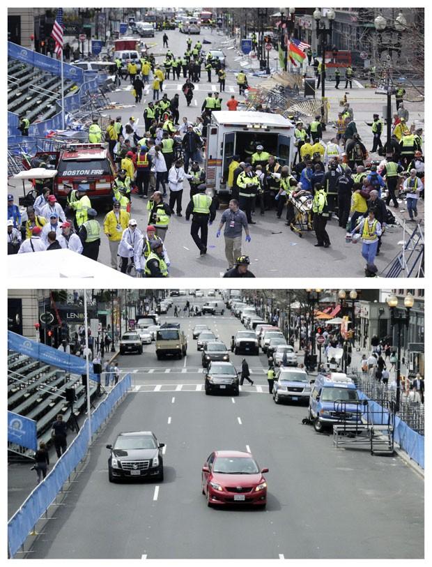 Combinação de fotos de 15 de abril de 2013 e 10 de abril de 2014 mostra equipes médicas atendendo os feridos na Rua Boylston e o mesmo local um ano depois (Foto: Charles Krupa/AP)