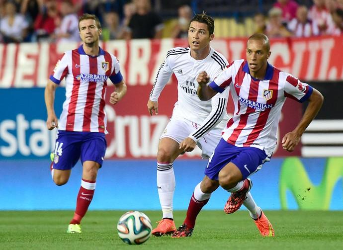Miranda e Cristiano ronaldo, Atlético de Madrid e Real Madrid (Foto: Agência AFP)