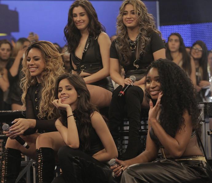 Fifth Harmony no 'Caldeirão'. As meninas arriscaram até palavras em português! (Foto: Inácio Moraes/Gshow)