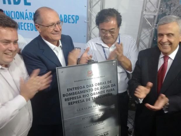 Alckmin e secretário Benedito Braga inauguram obra de interligação (Foto: Roney Domingos/G1)
