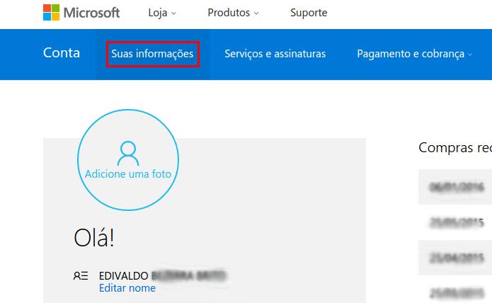 Acessando o item Suas informações da conta Microsoft (Foto: Reprodução/Edivaldo Brito)