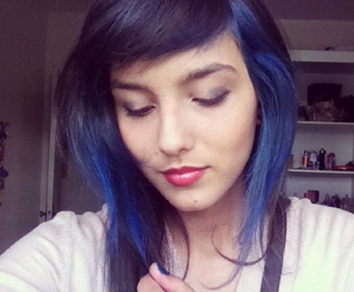 Olha ela com as madeixas azuladas (Foto: Arquivo pessoal)