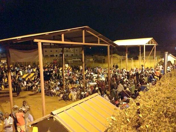 Refugiados que buscam abrigo na base da ONU em Juba, no Sudão do Sul (Foto: PMDF / Divulgação) (Foto: PMDF / Divulgação)
