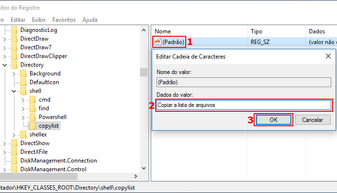 Alterando o valor padrão da nova chave para Copiar a lista de arquivos (Foto: Reprodução/Edivaldo Brito)