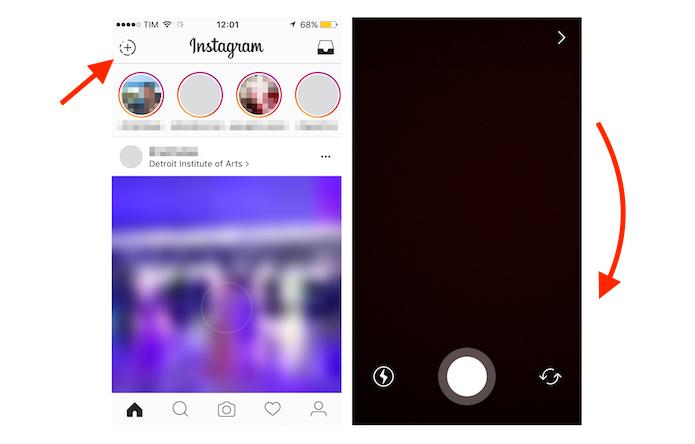 Usando o recurso do Instagram Stories para visualizar fotos salvas nas últimas 24 horas (Foto: Reprodução/Marvin Costa)