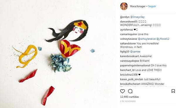Arte de Bridget Collins feita com flores (Foto: Reprodução/Instagram)