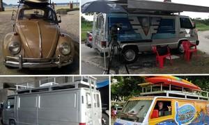 Amigos fazem o próprio 'lata-velha' e transformam carro em escola de surf