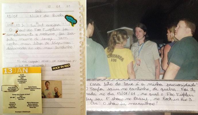 Agenda de Louise Palma mostra anotações do show do Foo Fighters no Rock in Rio 2001