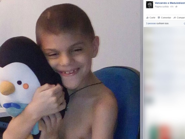 Sr. Miguel, um pinguim de pelúcia, acompanha Luiz nas sessões de quimioterapia (Foto: Reprodução / Facebook)